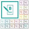 Signing Bitcoin cheque flat color icons with quadrant frames - Signing Bitcoin cheque flat color icons with quadrant frames on white background