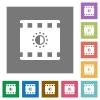 Movie saturation square flat icons - Movie saturation flat icons on simple color square backgrounds