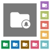 Directory alerts square flat icons - Directory alerts flat icons on simple color square backgrounds