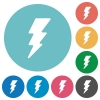 Lightning energy flat round icons - Lightning energy flat white icons on round color backgrounds