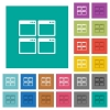 Mosaic window view mode square flat multi colored icons - Mosaic window view mode multi colored flat icons on plain square backgrounds. Included white and darker icon variations for hover or active effects.