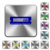 RAM module rounded square steel buttons - RAM module engraved icons on rounded square glossy steel buttons