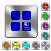 Save component rounded square steel buttons - Save component engraved icons on rounded square glossy steel buttons