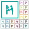 Ruble cash machine flat color icons with quadrant frames - Ruble cash machine flat color icons with quadrant frames on white background