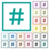Hash tag flat color icons with quadrant frames - Hash tag flat color icons with quadrant frames on white background