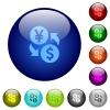 Yen Dollar money exchange color glass buttons - Yen Dollar money exchange icons on round color glass buttons