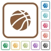 Basketball simple icons - Basketball simple icons in color rounded square frames on white background