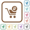 Checkout with Ruble cart simple icons - Checkout with Ruble cart simple icons in color rounded square frames on white background