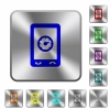 Mobile benchmark rounded square steel buttons - Mobile benchmark engraved icons on rounded square glossy steel buttons
