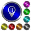 Restaurant GPS map location luminous coin-like round color buttons - Restaurant GPS map location icons on round luminous coin-like color steel buttons