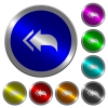 Reply to all recipients luminous coin-like round color buttons - Reply to all recipients icons on round luminous coin-like color steel buttons