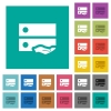 Shared drive square flat multi colored icons - Shared drive multi colored flat icons on plain square backgrounds. Included white and darker icon variations for hover or active effects.