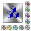 Cubes rounded square steel buttons - Cubes engraved icons on rounded square glossy steel buttons