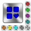 Favorite component rounded square steel buttons - Favorite component engraved icons on rounded square glossy steel buttons