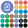 Mobile pin data round flat multi colored icons - Mobile pin data multi colored flat icons on round backgrounds. Included white, light and dark icon variations for hover and active status effects, and bonus shades on black backgounds.