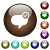 Message sent color glass buttons - Message sent white icons on round color glass buttons