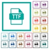 TTF file format flat color icons with quadrant frames - TTF file format flat color icons with quadrant frames on white background