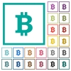 Bitcoin sign flat color icons with quadrant frames - Bitcoin sign flat color icons with quadrant frames on white background