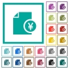 Yen financial report flat color icons with quadrant frames - Yen financial report flat color icons with quadrant frames on white background