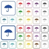 Umbrella outlined flat color icons - Umbrella color flat icons in rounded square frames. Thin and thick versions included.