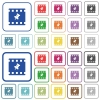 Pin movie outlined flat color icons - Pin movie color flat icons in rounded square frames. Thin and thick versions included.