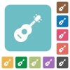 Acoustic guitar rounded square flat icons - Acoustic guitar white flat icons on color rounded square backgrounds