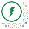 Lightning energy flat icons with outlines - Lightning energy flat color icons in round outlines on white background