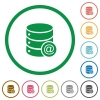 Database email flat icons with outlines - Database email flat color icons in round outlines on white background