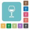 Glass of wine rounded square flat icons - Glass of wine white flat icons on color rounded square backgrounds