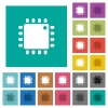 Computer processor square flat multi colored icons - Computer processor multi colored flat icons on plain square backgrounds. Included white and darker icon variations for hover or active effects.