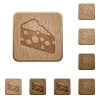 Slice of cheese wooden buttons - Slice of cheese on rounded square carved wooden button styles