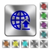 Upload to internet rounded square steel buttons - Upload to internet engraved icons on rounded square glossy steel buttons