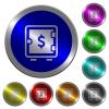 Dollar strong box luminous coin-like round color buttons - Dollar strong box icons on round luminous coin-like color steel buttons
