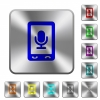 Mobile recording rounded square steel buttons - Mobile recording engraved icons on rounded square glossy steel buttons