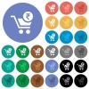 Checkout with Rupee cart round flat multi colored icons - Checkout with Rupee cart multi colored flat icons on round backgrounds. Included white, light and dark icon variations for hover and active status effects, and bonus shades on black backgounds.