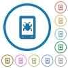 Malicious mobile software icons with shadows and outlines - Malicious mobile software flat color vector icons with shadows in round outlines on white background
