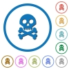 Skull with bones icons with shadows and outlines - Skull with bones flat color vector icons with shadows in round outlines on white background
