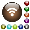 Radio signal color glass buttons - Radio signal white icons on round color glass buttons