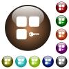 Secure component color glass buttons - Secure component white icons on round color glass buttons