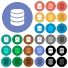 Single database round flat multi colored icons - Single database multi colored flat icons on round backgrounds. Included white, light and dark icon variations for hover and active status effects, and bonus shades on black backgounds.