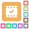 Movie ok rounded square flat icons - Movie ok flat icons on rounded square vivid color backgrounds.