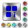 Component information rounded square steel buttons - Component information engraved icons on rounded square glossy steel buttons