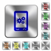 Mobile preferences rounded square steel buttons - Mobile preferences engraved icons on rounded square glossy steel buttons