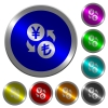 Yen Lira money exchange luminous coin-like round color buttons - Yen Lira money exchange icons on round luminous coin-like color steel buttons