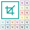 Crop tool flat color icons with quadrant frames - Crop tool flat color icons with quadrant frames on white background