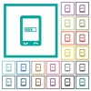 Mobile processing flat color icons with quadrant frames - Mobile processing flat color icons with quadrant frames on white background