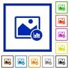 Image histogram flat framed icons - Image histogram flat color icons in square frames on white background