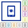Mobile learning flat framed icons - Mobile learning flat color icons in square frames on white background