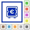 Euro strong box flat framed icons - Euro strong box flat color icons in square frames on white background