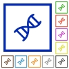 DNA molecule flat framed icons - DNA molecule flat color icons in square frames on white background